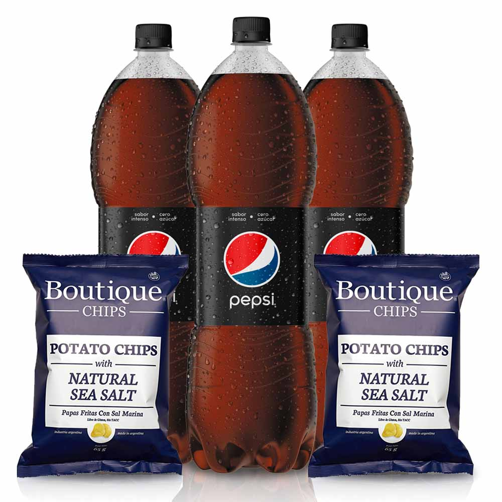 Pack: 3 Pepsi Black 2,25lt + 2 Chip Boutique Natural Salt